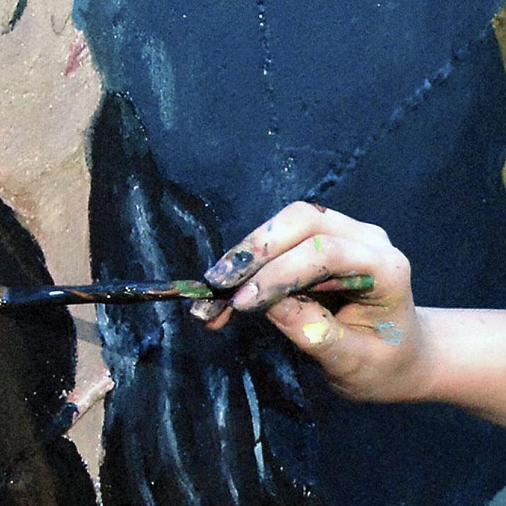 Hand der Künstlerin